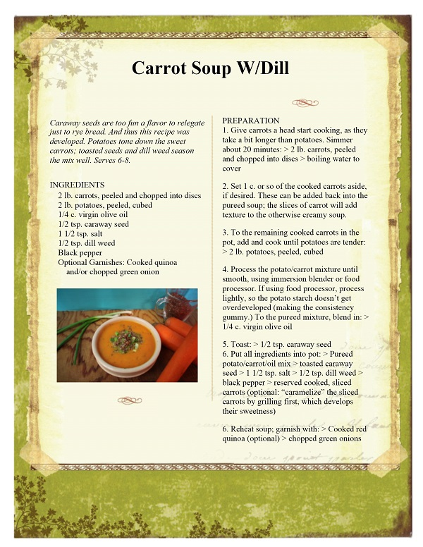 The New Deli's Carrot Soup w/Dill