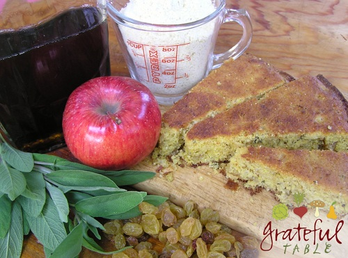 Corn Bread w/ raisins, apples, corn meal, maple syrup