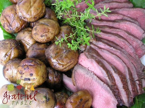 Roast beef w/ Marinated Mushrooms, barbequed on grill