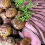Roast beef w/ Marinated Mushrooms, barbequed on grill