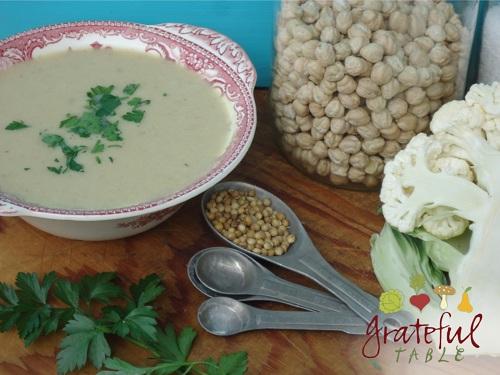 Bowl of soup: Garbanzo beans, coriander seeds, cauliflower