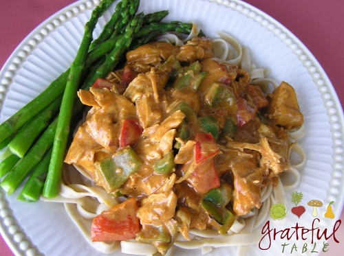 Chicken w/ Hungarian style Paprikash sauce, over pasta