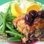 Stuffed Chicken Breast w/ Cherry Sauce, Green Beans