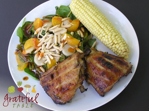 Ginger Chicken, Spinach Salad, and Corn on the Cob