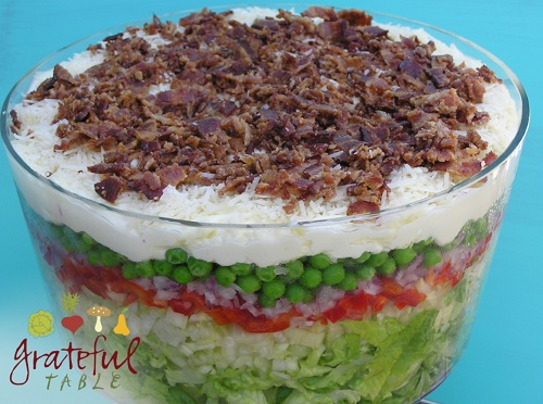8 Layer Salad w/ Peas, Parmesan, Bacon, Veggies