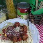 Pasta and Meatballs on Italian style table