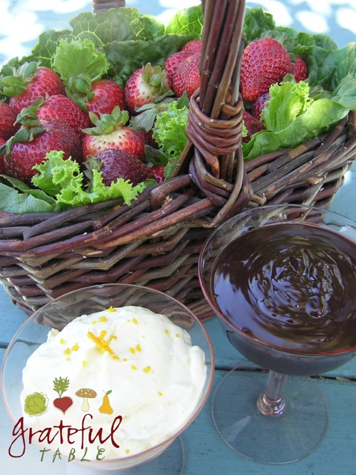 Easy Chocolate Dip in stemmed glass, w/ Strawberries in basket