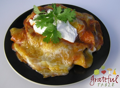 Vegetarian Enchiladas w/ broiled cheese, sour cream, cilantro
