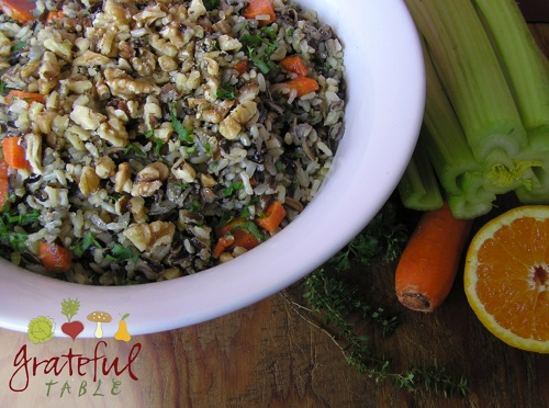 Brown Rice Salad w/ Wild Rice, Walnuts, Carrot, Herbs
