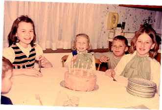 "Circa 1966: That's me on the right, on my eighth birthday. I ""helped"" my mom bake the cake, started thinking, ""This is a lot of fun!"""