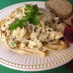 Plate w/ Fettucine, Chicken and Cream Sauce