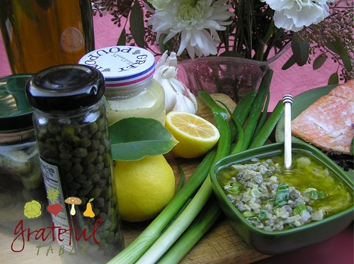 Capers, lemons, green onions, mustard, olive oil
