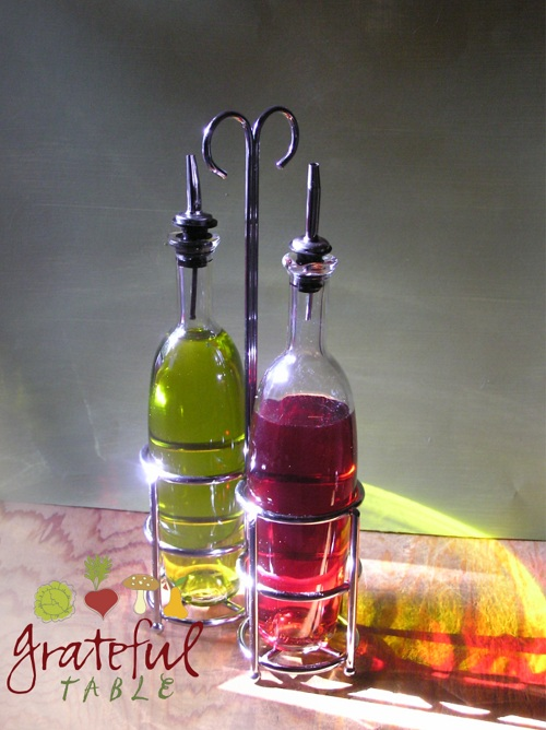 Virgin Olive Oil and Red Wine Vinegar Bottles