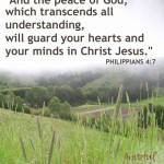 """""""And the peace of God, which transcends all understanding, will guard your hearts and your minds in Christ Jesus."""" Philippians 4:7"""