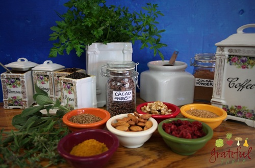 Spices, Herbs, Nuts, Dried Fruits, Chocolate: A display of High-ORAC foods