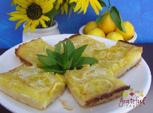 Sunflowers, meyer lemons, mint, and lemon bars