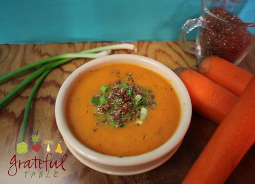 Carrot Soup garnished w/ Dill Weed, Quinoa
