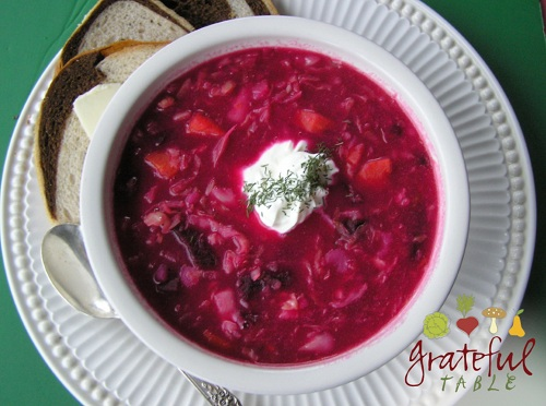 Bowl of Bright Red Russian Soup
