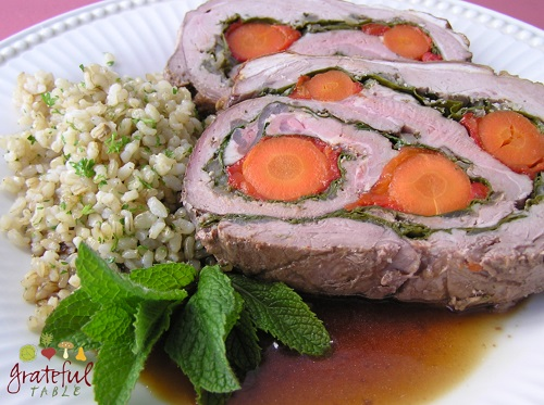 Butterflied Lamb, Stuffed w/Carrot, Spinach, Garlic, Herbs