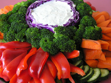 Red Peppers, Carrot, Broccoli, plus Ranch Dip in Cabbage Bowl