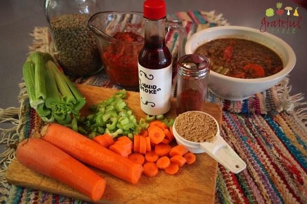 Add carrot, celery, tomato sauce, liquid smoke... great Lentil Soup!