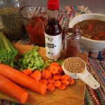 Add carrot, celery, tomato sauce, liquid smoke... great Lentil Soup!