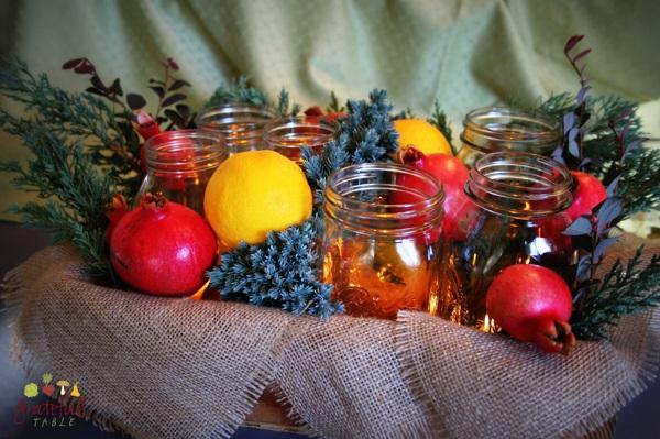 Natural Tablescape w/produce, burlap, mason jars, candles