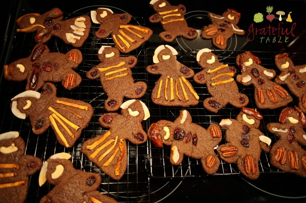 Christmas Gingerbread Cookies, Decorated w/Nuts, Dried Fruits