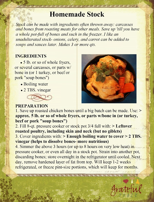 """Stock Recipe from """"Soup's On"""" (Jen's Book)"""