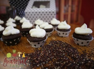 Quinoa and chocolate cupcakes in polka-dot cupcake liners
