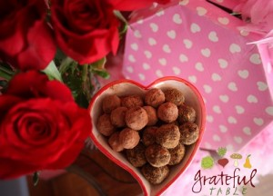 Candy dish full of Red Palm Oil Fudge Truffles