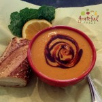 Creamy Roasted Pepper Soup w/Sweet Potatoes, Ginger, Caramelized Onion