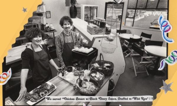 Jen & Tom Cote at New Deli counter, 1985