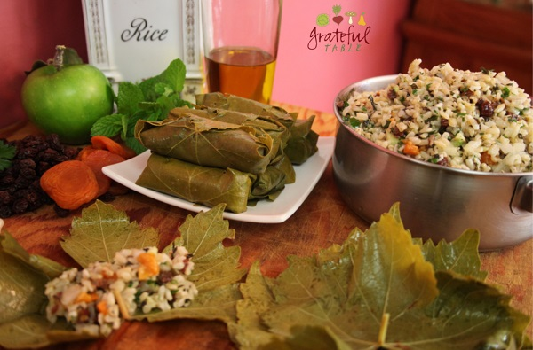 Dolmas- stuffed grape leaves with rice, dried fruit, mint