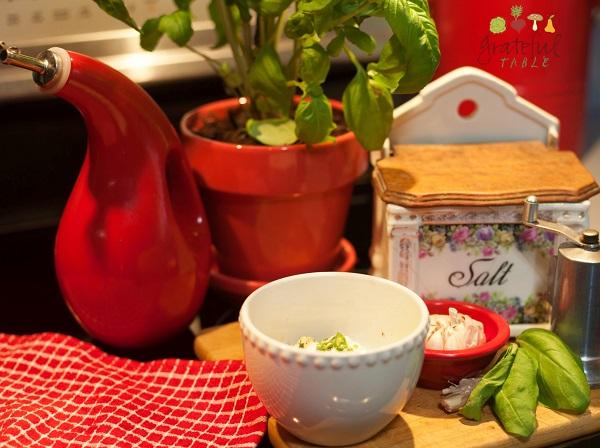 Olive oil, basil, garlic, salt, parmesan