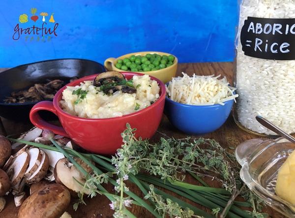 Aborio Rice + Mushrooms, Peas, Herbs, Garlic