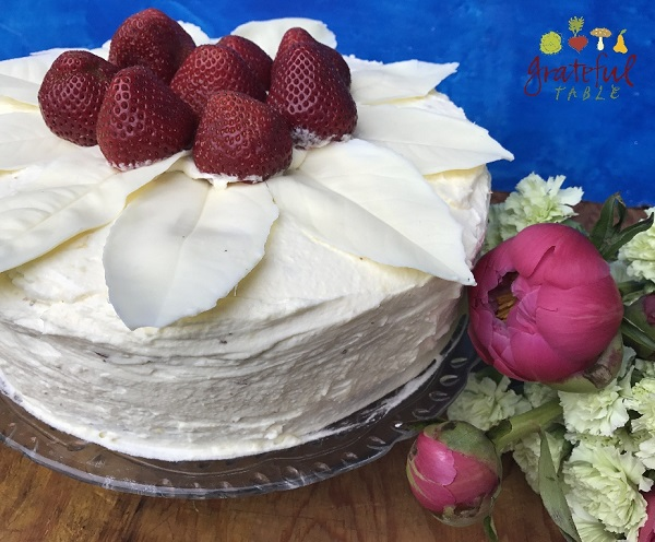 White Cake with Poppy Seeds, White Chocolate, Strawberries