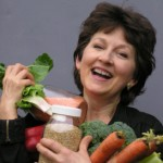 Jen w/ jars of brown rice and red lentils, plus veggies