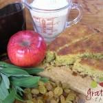 Corn Bread w/ raisins, apples, corn meal, maple syrup