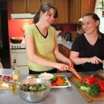 Sarah, Jo, and Steph prepare healthy foods