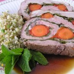Butterflied Lamb, Stuffed w/Carrot, Spinach, Red Pepper, Garlic, Herbs
