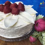 White Cake with Poppy Seeds, White Chocolate, Strawberries